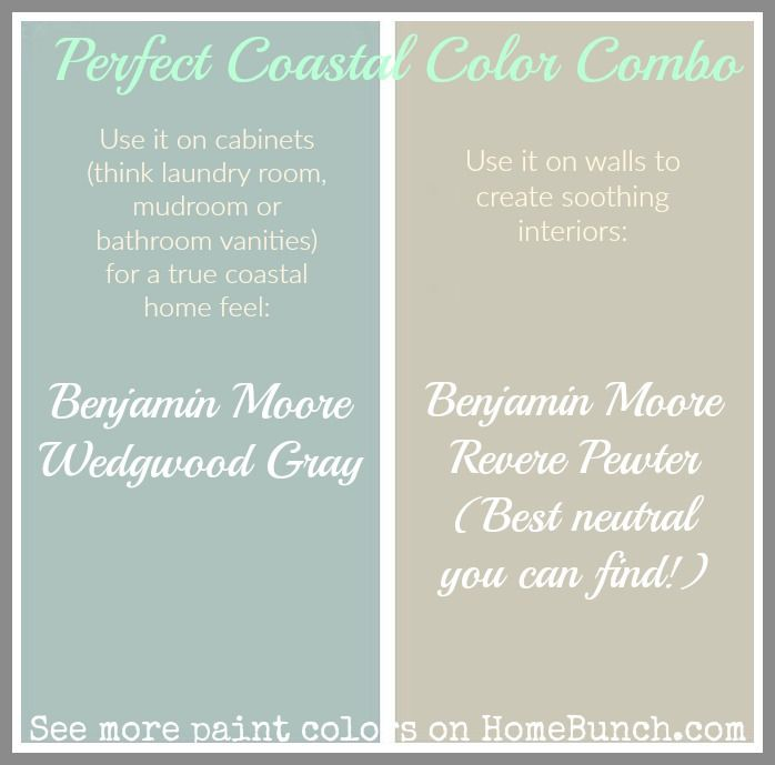 Benjamin Moore Wedgwood Gray - Benjamin Moore Revere Pewter - Good color scheme for walls and cabinets.