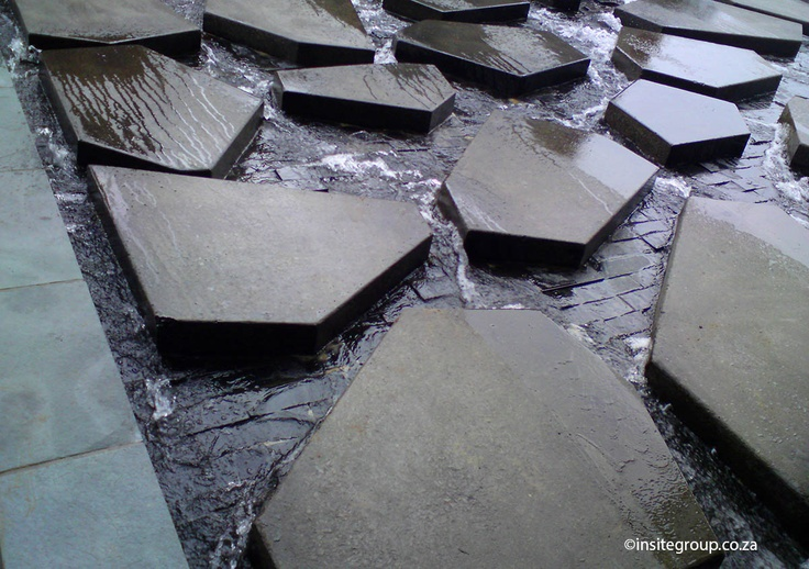 Water feature design, close up, at Alice lane, Sandton, South Africa, by Insite landscape architects.