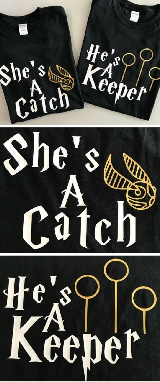 BEST. COUPLES. SHIRTS, EVER! She's a catch and He's a keeper- These are so cute! Any husband and wife or boyfriend and girlfriend who love harry potter would love these! It would be an awesome gift idea for him or her #hp #hpgifts #ad #harrypotter #harrypottergifts
