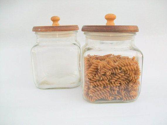 2 vintage Clear Glass Containers with Lids by Gem2thei on Etsy