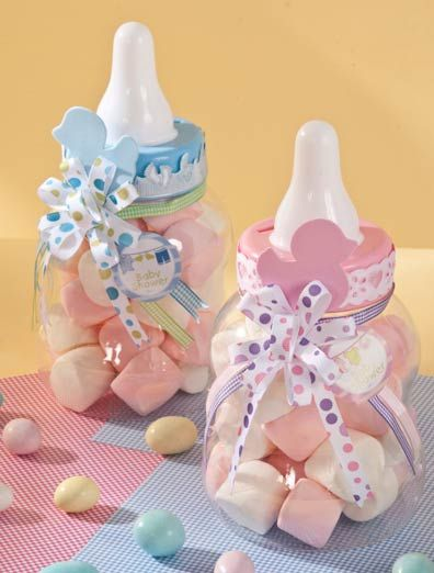 Baby Shower Bottle Centerpieces filled with  Pink & White Marshmallows