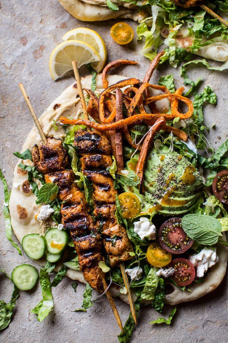 Chicken Shawarma Naan Salad with Sweet Potato Fries | halfbakedharvest.com @hbharvest