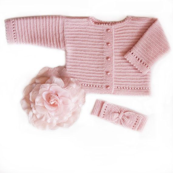 Handknitted baby girl sweater in soft pink extra fine baby merino wool. Looks wonderful with matching headbound.  The outfit is knitted with care and