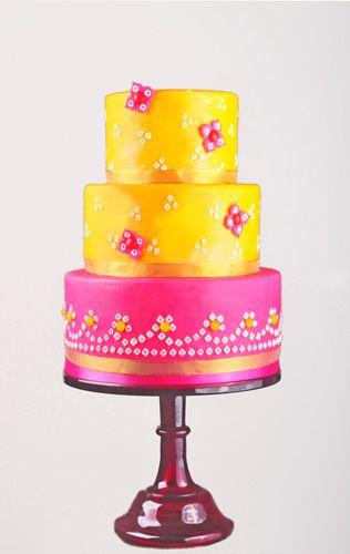 Bandhani pattern cake in mango and bright pink...:)