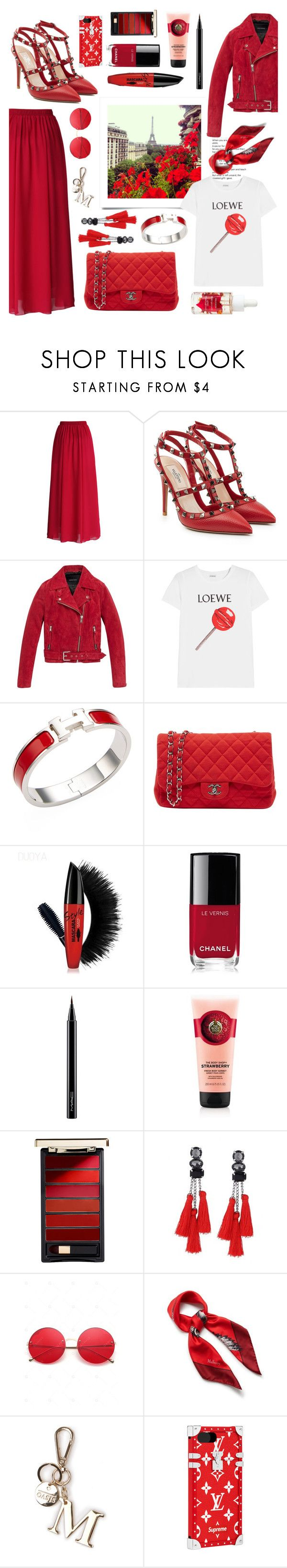 """""""Red pleated skirt"""" by ida-sofie-strom ❤ liked on Polyvore featuring Chicwish, Valentino, Andrew Marc, Loewe, Hermès, Chanel, MAC Cosmetics, L'Oréal Paris, Mulberry and Louis Vuitton"""
