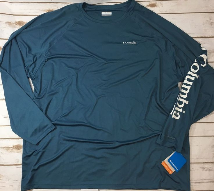 NWT Columbia PFG Mens 4XT Terminal Tackle Long Sleeve Fishing Shirt Blue UPF 50  | eBay