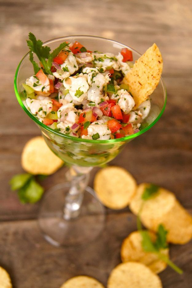 Easy Tomatillo Shrimp Ceviche Recipe | Cinco de Mayo Appetizer Food Recipes by DIY Ready at http://diyready.com/23-cinco-de-mayo-recipes-to-get-the-party-started/