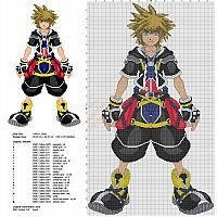 Sora from Kingdom Hearts 2 free cross stitch pattern