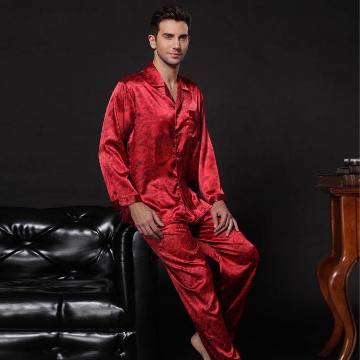 NWT 2PCS Mens Silk Satin Pajamas Sleepwear Pyjamas picclick.com