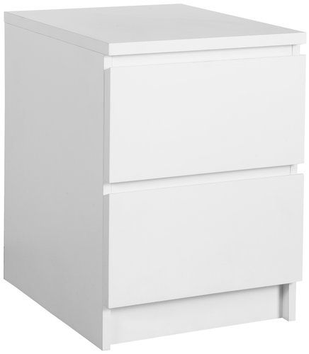 Nočný stolík LIMFJORDEN 2 zásuvky biela | JYSK