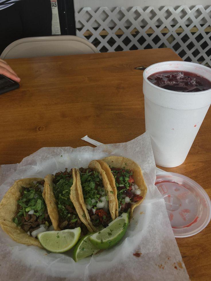 [I ate] tacos de carne asada tacos campechanos and jugo de Jamaica