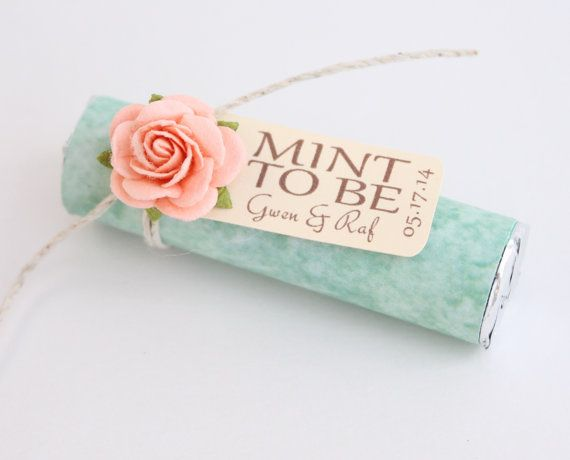 "Mint wedding Favors - Set of 24 mint rolls - ""Mint to be"" favors with personalized tag - mint and peach, mint green favors, light coral"