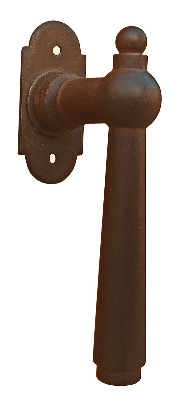 Art.2906. Traditional window handle on raised plate. This handle is available in 13 different finishes. AXE43mm Martellina Galbusera in ferro battuto art.2906