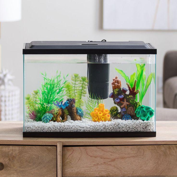 Aquarium starter kit fish tank 10 gallon terrarium led