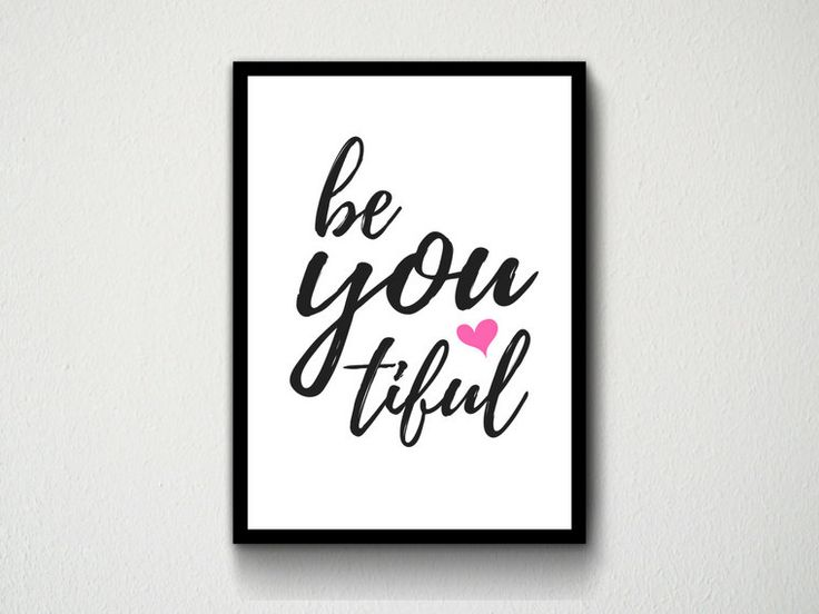 Digital Download Typography Wall Art Print Be You Tiful Quote, Black, Gold, Pink, Marble, Customisable, Study, Printable, Cute, Polka Dots by DesignsByMoniqueAU on Etsy