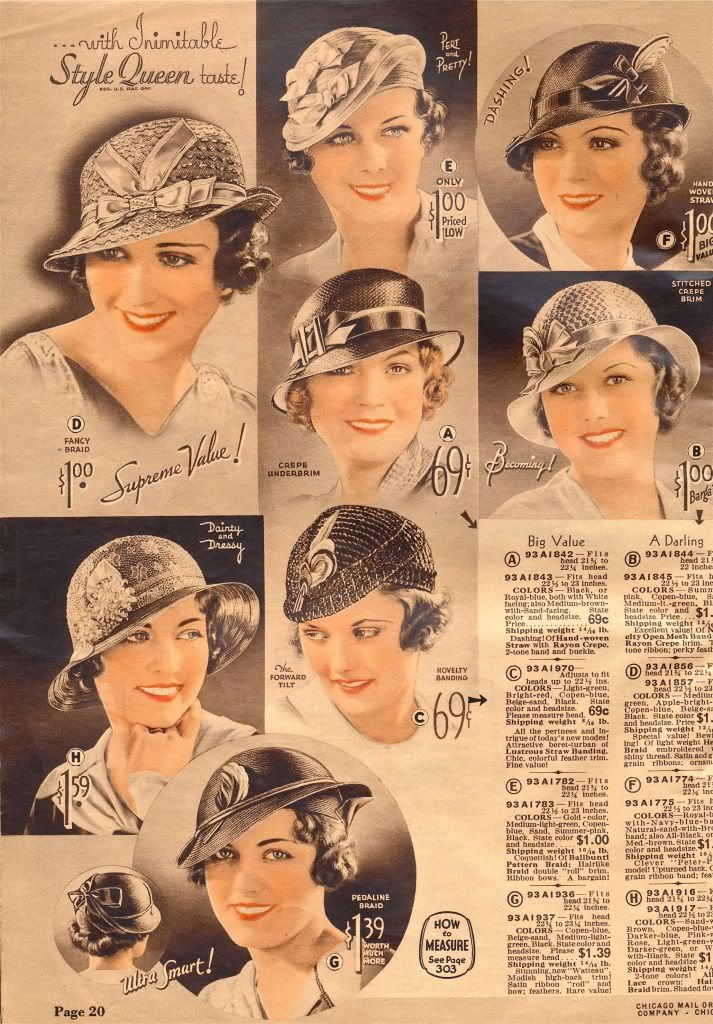 1930 fashion  accessories: beautiful hats <3 Hats from Chicago Mail Order Catalog 1933 source: http://what-i-found.blogspot.com/2009_11_01_archive.html