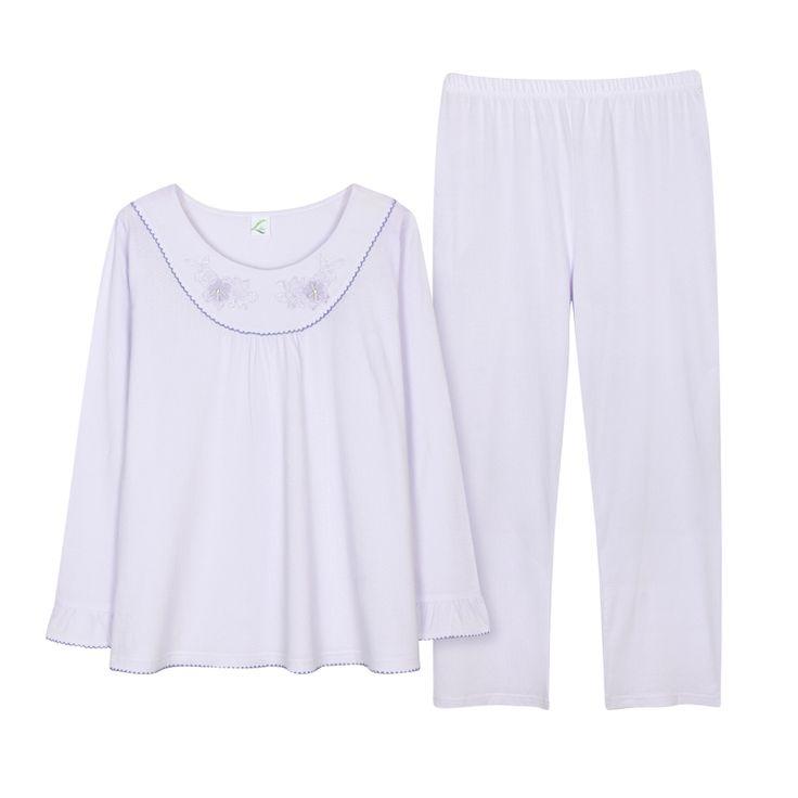 Plus Size Pajama Sets For Women Cotton Casual Long Sleeve Pants Pajamas Pijama Cute Girls Sleepwear Pyjama Summer 2 Piece Set  #Affiliate