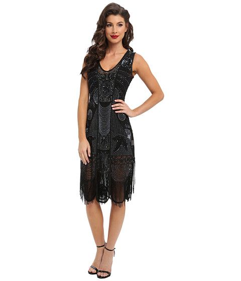 Unique Vintage The Bosley Beaded Fringed Flapper Dress Black - Zappos.com Free Shipping BOTH Ways