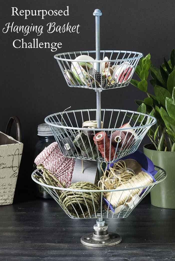 repurposed hanging basket into storage basket stand hanging baskets baskets and storage. Black Bedroom Furniture Sets. Home Design Ideas
