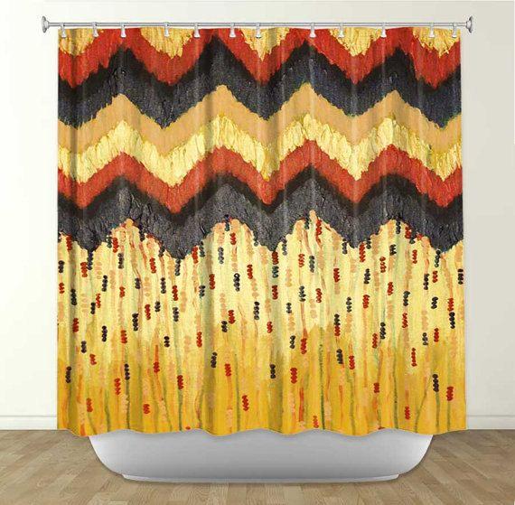 SHINE ON - Chevron or Art peinture douche Rideau lavable décor rouge noir métallique abstraite moderne & salle de bains