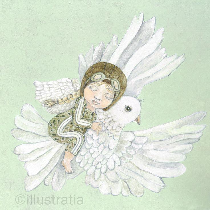 Acrylschildering op paneel 30x30 cm. Uit de 8-delige serie: 'angelical antics.' titel: 'dream flight'