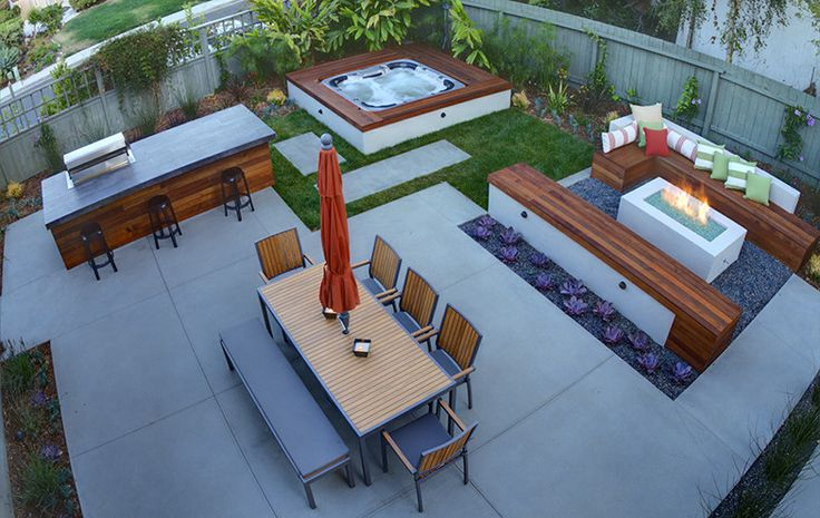 Superb Hot Tub decorating ideas for Ravishing Landscape Contemporary design ideas with bbq island built-in seating concrete custom spa dining outdoors fire pit modern