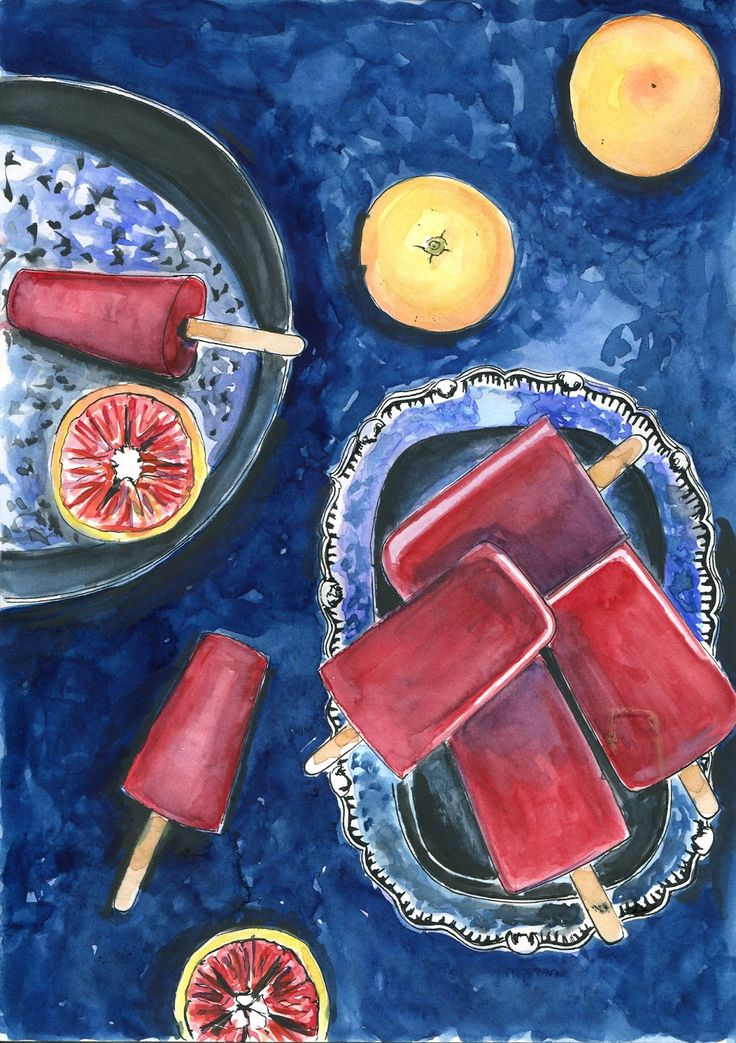 food-illustrations: Sorbet z pomarańczy