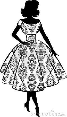 Vintage silhouette of girl by Olga Kvach, via Dreamstime