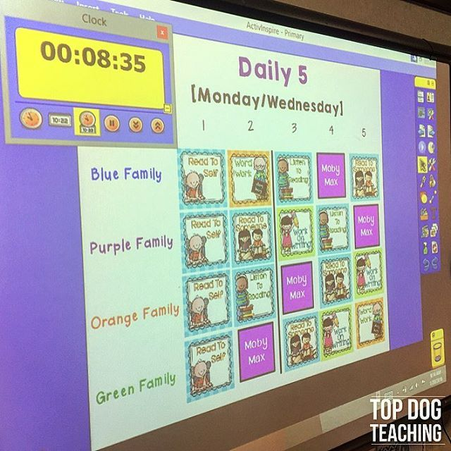 We are loving our updated Daily 5 rotation board! ❤️ Hellllloooo two stations with iPads!  Teacher tip: I set a timer for almost everything in our classroom ⏰. How do you run Daily 5 in your classroom? #reading #daily5 #topdogteaching #teachersofinstagram #happyclassrooms #teachersfollowteachers