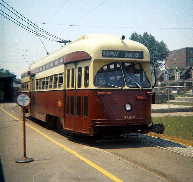 A TTC streetcar at Woodbine Station in Toronto, circa 1967
