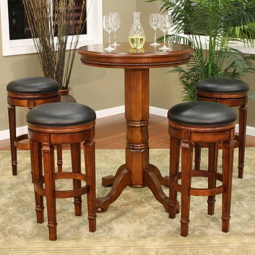 New Pub Table Set And Bar Stools Game Room Furniture Swivel Barstools