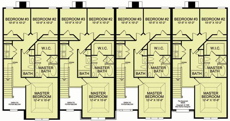 4 plex 3 2nd floor apartment house plan ideas for Modern 4 plex plans