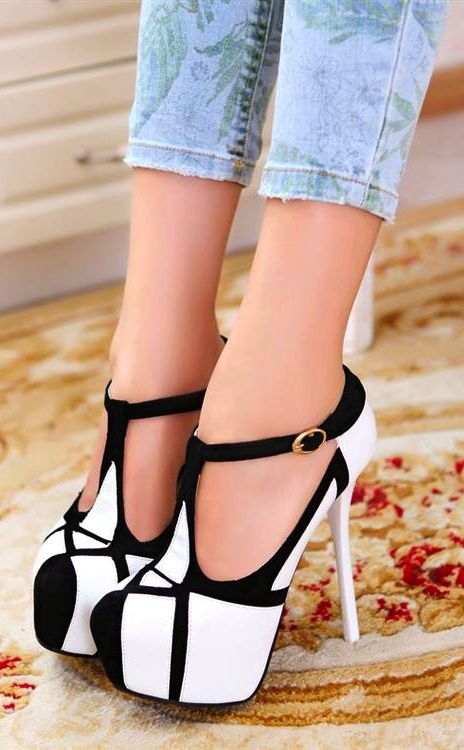 Stiletto T Strap High Heel Shoes