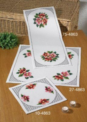 click here to view larger image of Cosmos Table Runner (Top) (counted cross stitch kit)