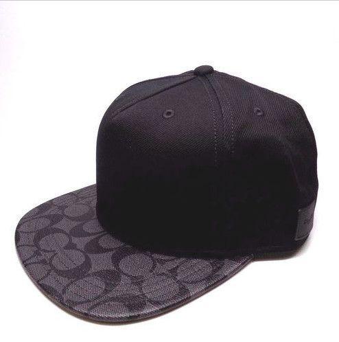 de8b8fe92ab  65 BRAND NEW MEN S COACH (F86476) FLAT BRIM SIGNATURE PVC CHARCOAL BLACK  HAT CAP