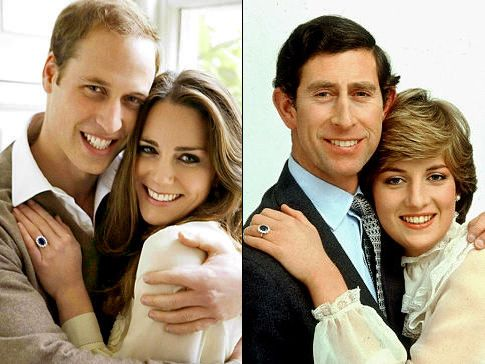 Prince William and Kate Middleton (l.) posed in similar fashion to that of Prince Charlie and Diana's engagement photos.  (Testino/AP )