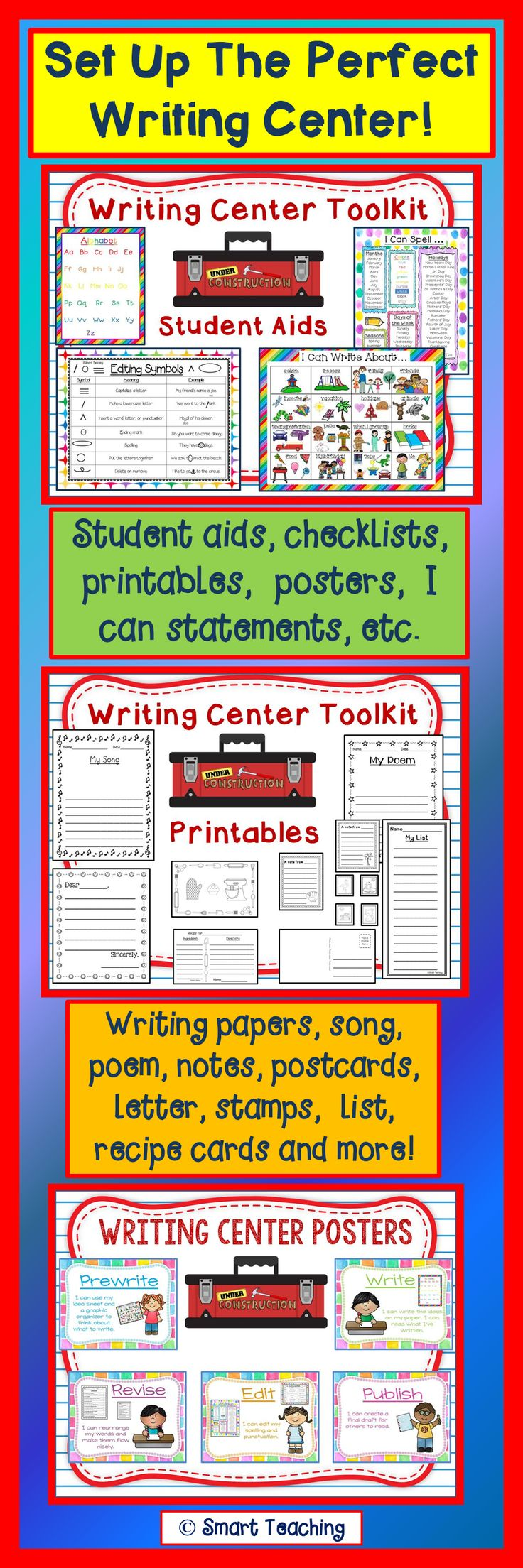 Set up your writing center the easy way! Cards, postcards, stamps, lists, notes, poem, letter, recipe card, checklists, posters, I can statements, and student aids are all included in this amazing package! $