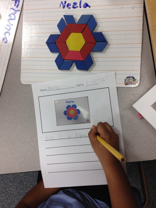 Pattern block writing - trying to add more authentic writing in my Kindergarten class