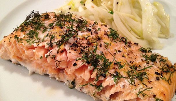 Grilled Salmon with Dill and Lemon Zest.