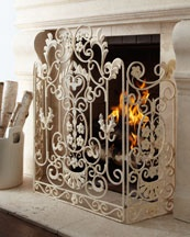 H5QF2 Antiqued-White Fireplace Screen