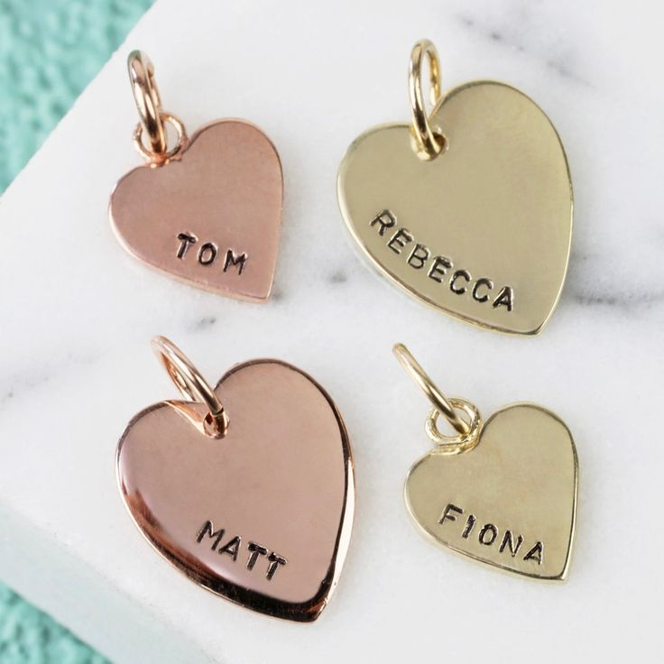 Looking to create your own jewellery? These solid hand-stamped heart charms are perfect for attaching to bracelets and necklaces. Free Worldwide Delivery