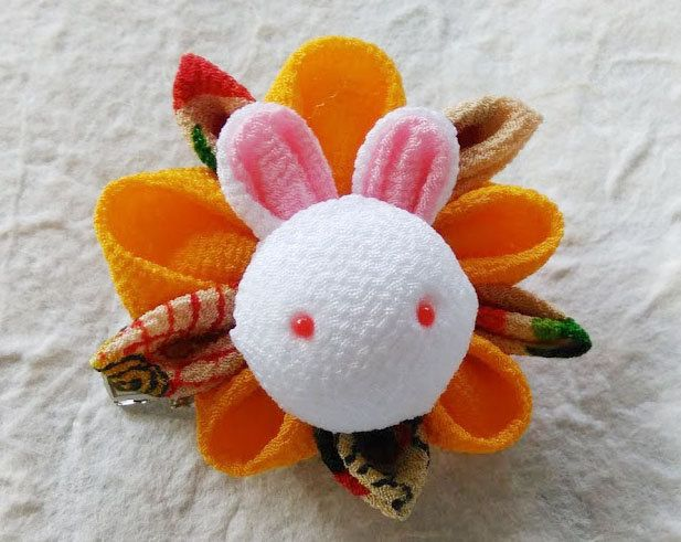 Tsumami zaiku Kanzashi flower brooch and hair clip  Bunny(Yellow) by chirimenbunny on Etsy