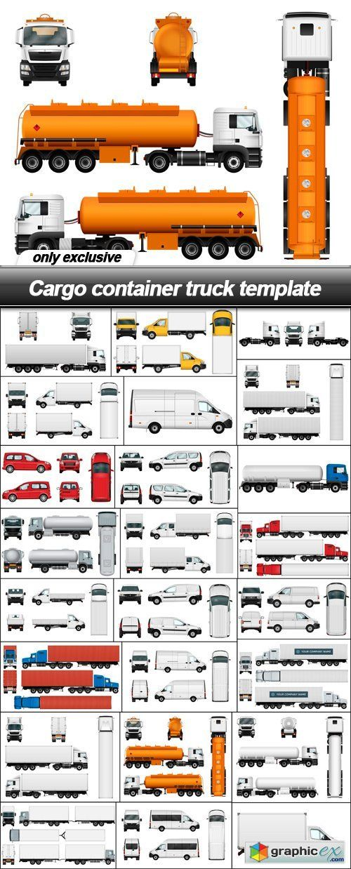 Cargo container truck template  24 EPS  stock images