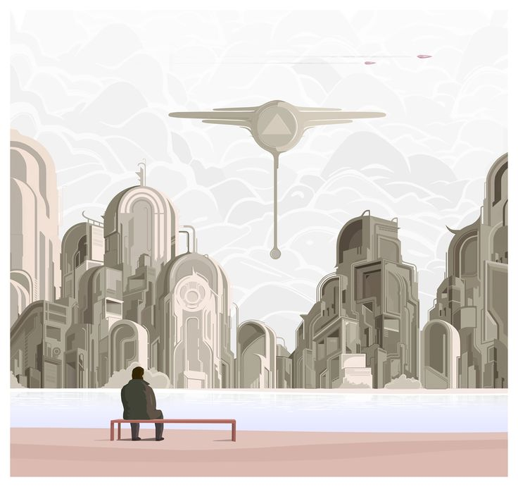 Over the river #illustration #city #abstract #simple #moody #scifi