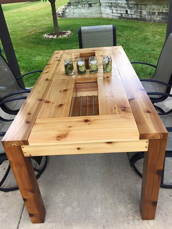 Solid Custom Hand Made Cedar Patio Table With Built In