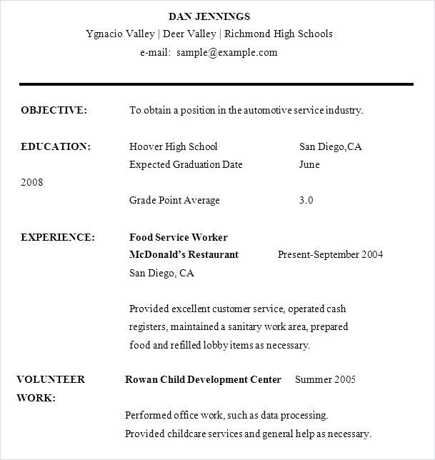 Beautiful High Schooler Resume Template Ideas