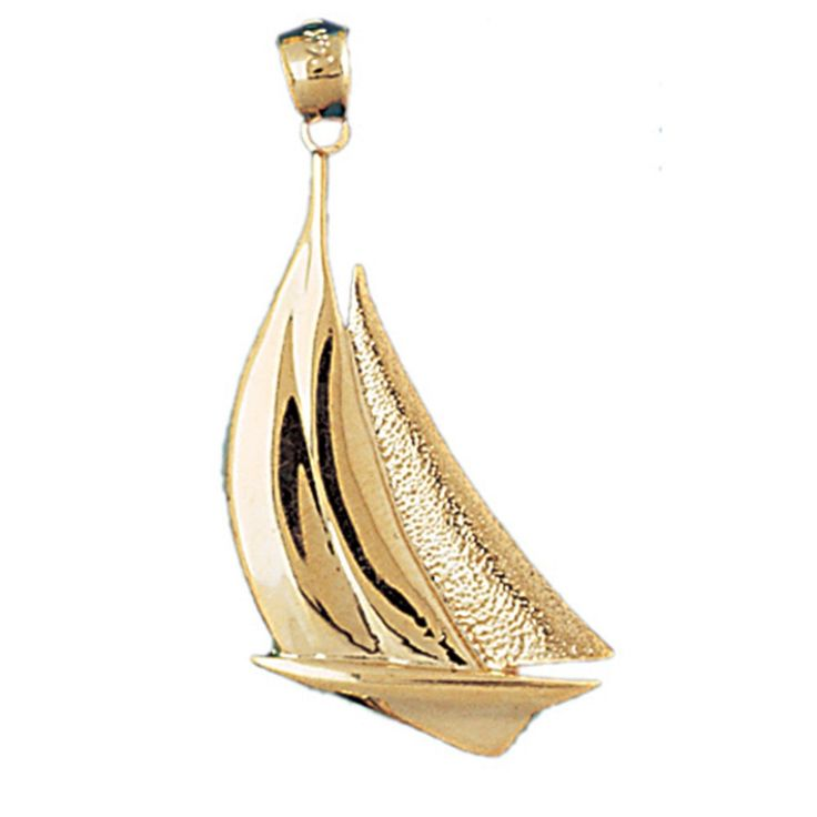 14K Yellow Gold Sailboat Pendant - 39 mm. Does not include chain. 30 Day Money Back Guarantee. Manufactured by JewelsObsession with the highest quality 14k yellow gold. Pendant Gram Weight: 3.6 / No Chain. Pendant Dimension: Length: 39 mm x Width: 21 mm.