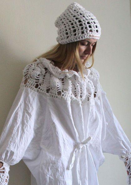 """Платья ручной работы. Ярмарка Мастеров - ручная работа. Купить Платье-рубашка из хлопка """"Богемия"""". Handmade. Белый, платье…"""