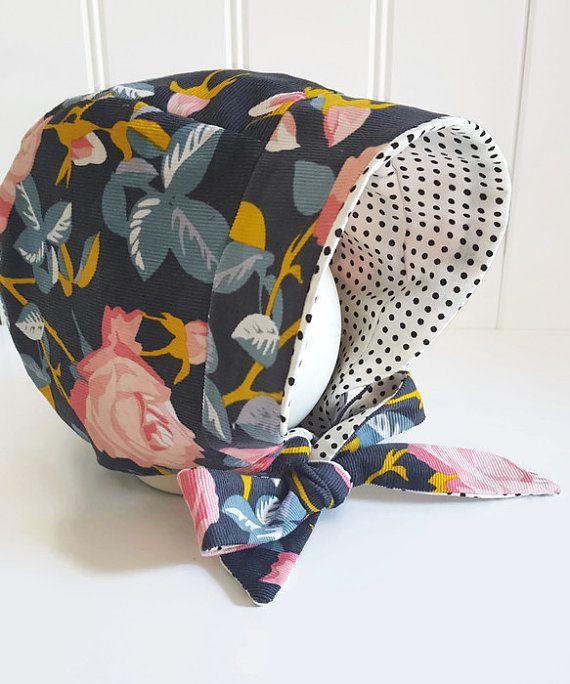 d4ababc53 Modern Baby Girl Bonnet Corduroy Floral Bonnet by GraceandGraceCo ...