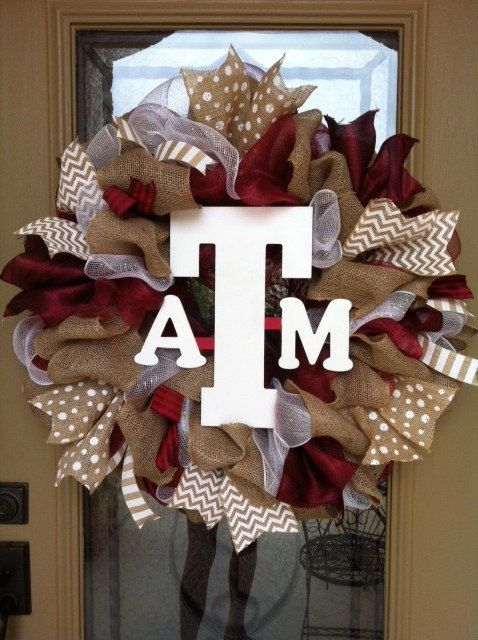 Texas A&M burlap wreath by GreatExpectations12 on Etsy